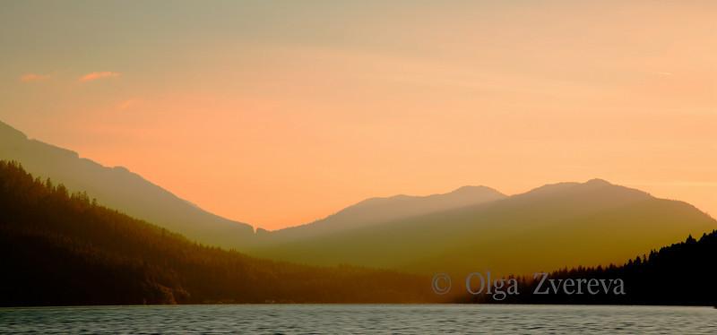 <p>Sunset over Lake Crescent, Olympic National Park, Washington, USA</p>
