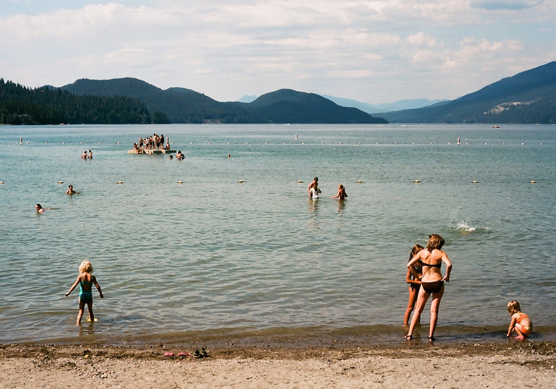 The crowds at Whitefish Lake on this beautiful, hot summer day were thick. It was a perfect summer scene--bright and lovely.