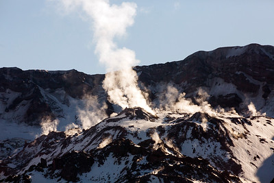 Steam ascends from the dome in the crater of Mt. St. Helens. Photo taken with a 500mm lens from the Boundary Trail near Johnston Ridge in late October 2019.