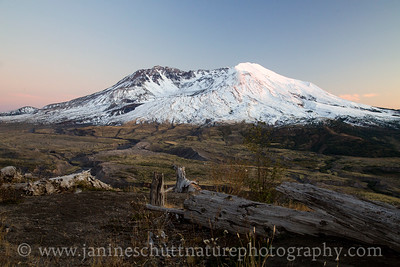 View of Mt. St. Helens during a fall sunset.  Photo taken from the Loowit Viewpoint in October 2017.