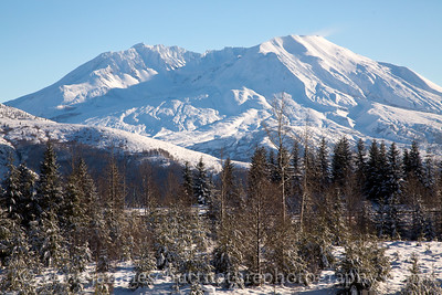 View of Mt. St. Helens from SR 504 on a cold winter day in December 2014.