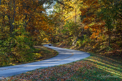 Blue Ridge Parkway, Boston Knob Overlook, milepost 39; parkway below (but WNW of) overlook drive; seems to be on Rockbridge-Amherst county line