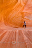 Cindy in a Very Unique Wave Like Cave - Coyote Buttes South, Arizona/Utah