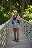 Cindy on the Suspension Bridge crossing Lee Creek - Devils Den State Park, Arkansas