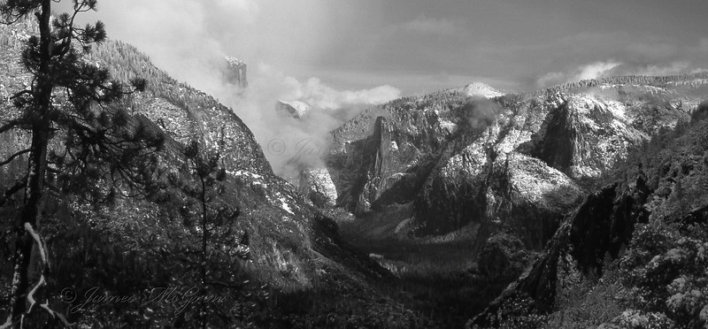 Yosemite Valley and Clearing Snow Storm from Turtleback Dome.  Cpyright ©2001, James McGrew