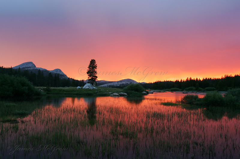 Sunset in Tuolumne Meadows.  ©2006, James McGrew.   People talked about this sunset for days in Tuolumne that summer.  Thunderstorms poured down rain all afternoon and suddenly the western sky lit up with fiery colors.  People throughout Tuolumne stopped their activities and ran out into the meadows to watch the spectacular colors glowing up from beneath the thunder clouds.