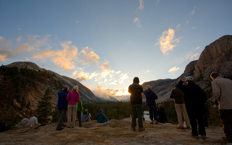 HSC guests enjoying the sunset at Glen Aulin