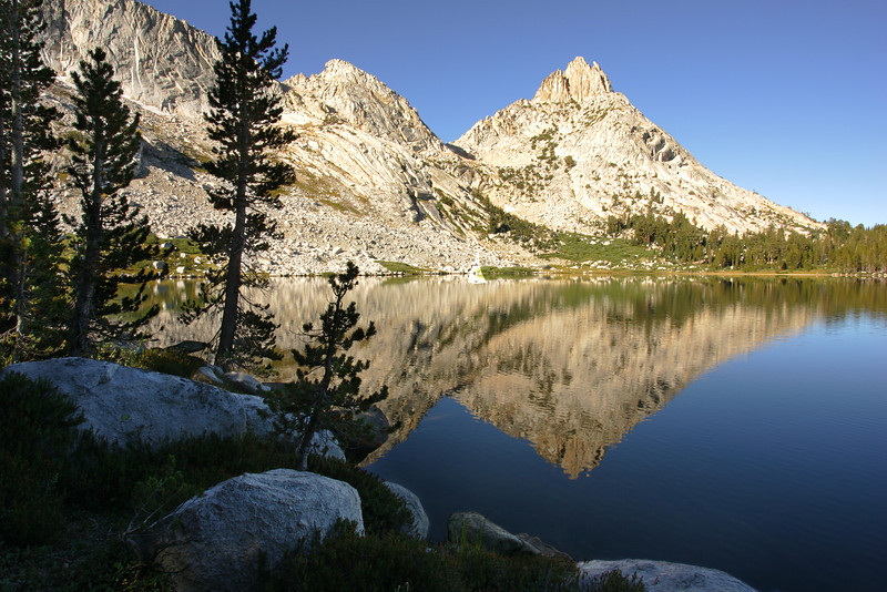 Morning light on Ragged peak from Lower Young Lake.  ©2005  James McGrew