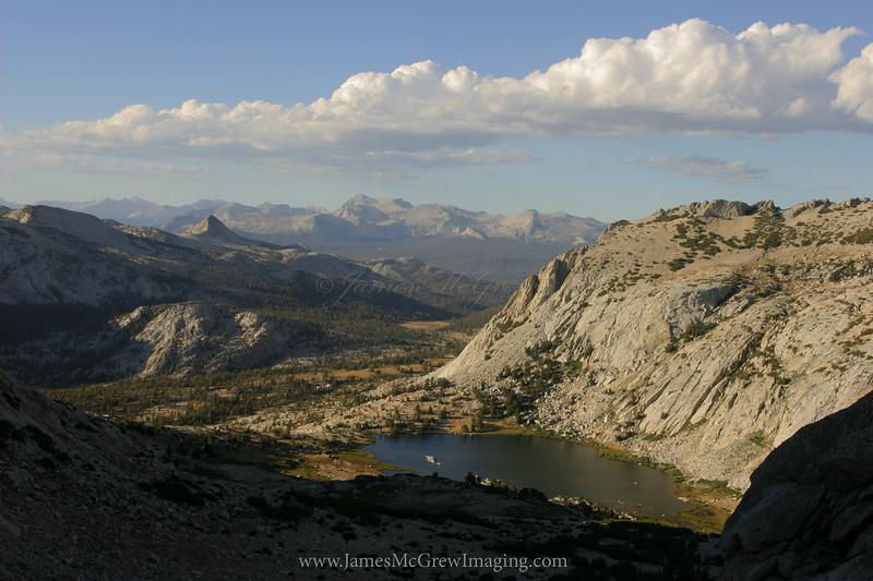 Above Vogelsang Lake, descending from Vogelsang Peak.  Copyright ©2004, James McGrew.