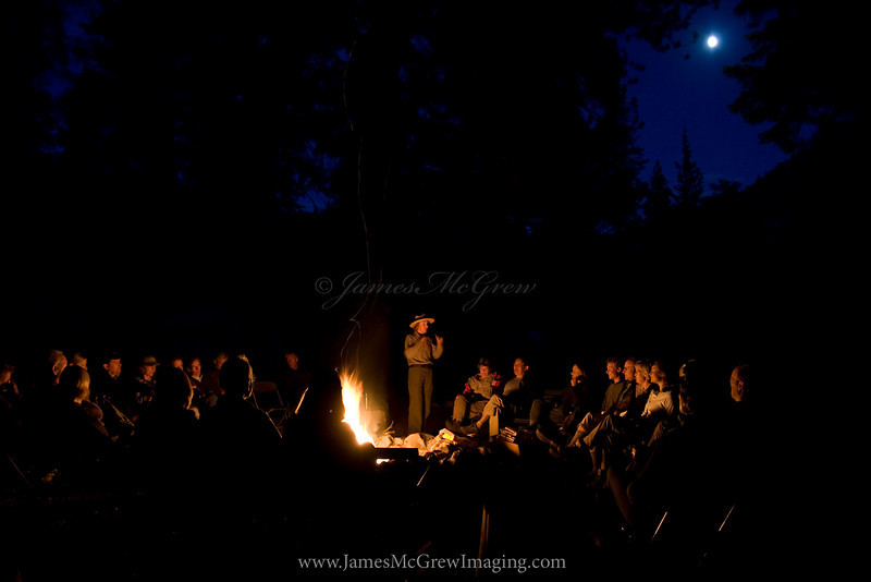 The Moon Rises over a Ranger Campfire Program at Merced Lake.  Copyright, ©2010 James McGrew