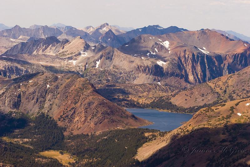 Saddlebag Lake from the summit of Mt. Dana over 13,000 ft elevation.  Copyright, ©2006  James McGrew