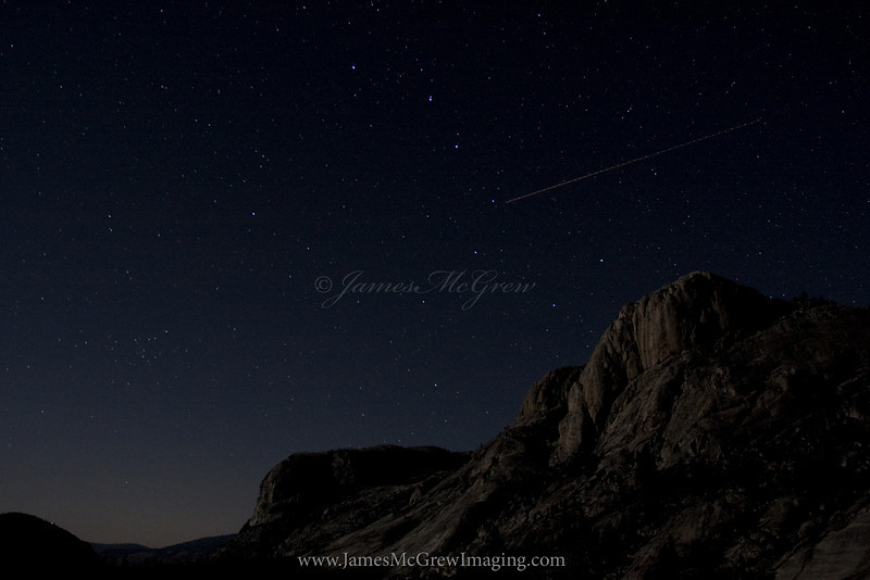 Ursa Major Above Wildcat.  Copyright, ©2010 James McGrew  <br /> Moonlight illuminates the cliffs above Glen Aulin as Ursa Major (clearly visible from the recognizable big dipper).