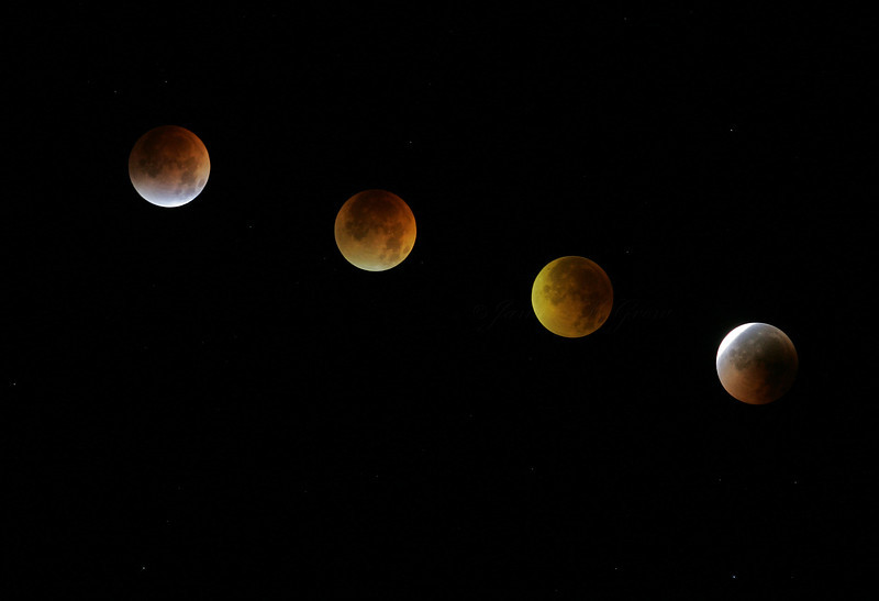 Sequence of Moon Passing Through a Total Lunar Eclipse as viewed from Yosemite, August 2007.   At about 3:00 am, some friends woke me from my sleep to watch the lunar eclipse together.  We gathered in a rocky amphitheater at 9,400 ft elevation to watch the event over Yosemite's High Country.