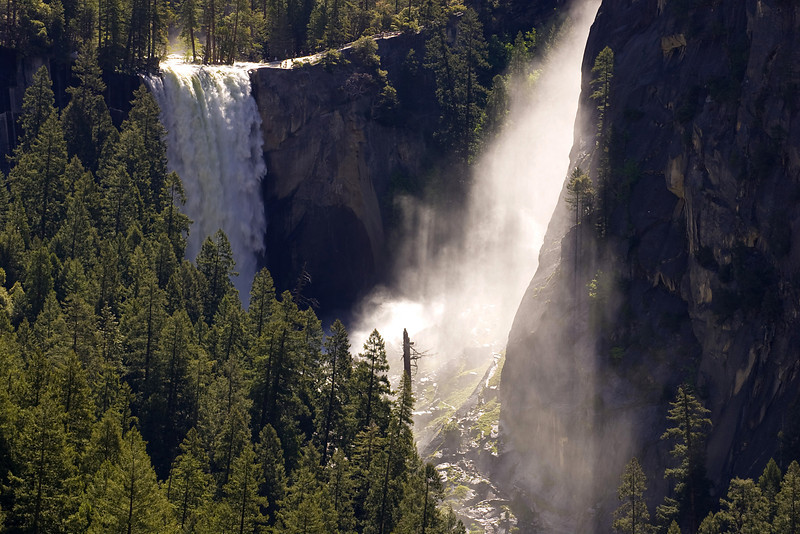 Vernal Fall and the appropriately named Mist Trail as seen from Sierra Pt.