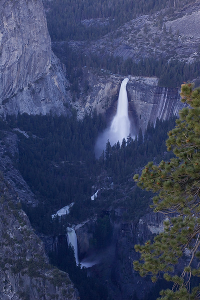 Nevada and Vernal Falls at twilight.