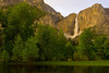 Yosemite Falls, Soft Amber Glow.  ©2005 James McGrew.  Afternoon thunderstorms cleared at sunset and the dissipating clouds diffused and reflected the light of the setting sun.  For a brief time, the entire valley was flooded in soft amber light.