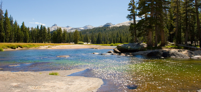 Tuolumne River and Cathedral Range; on the way to Glen Aulin.  Copyright © 2008 James McGrew.