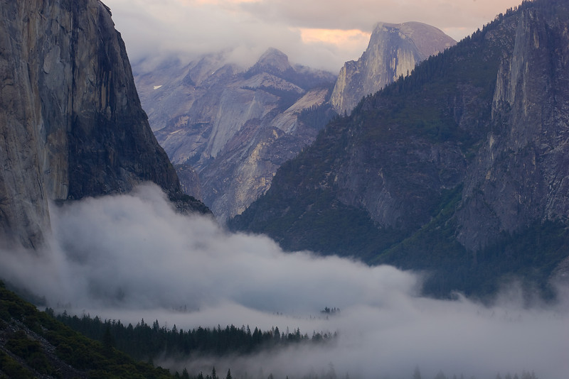 Half Dome Overlooks Cloud Formation after Sunset.  ©2009, James McGrew
