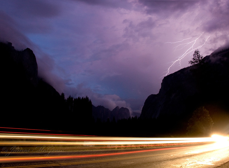 """Lightning Over Yosemite Valley.""   ©2005, James McGrew.   I shot this during an intense thunderstorm that dropped marble sized hailstones and frequent lightning strikes.  About a second after this bolt lit up the sky over the Three Brothers, powerful thunder rattled my camera and the windows of the nearby Ranger Club."