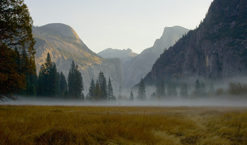 North Dome and Half Dome, Fog in Leidig Meadow.