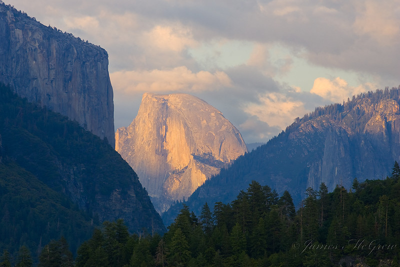 Half Dome, Sunset.  Copyright, ©2009  James McGrew<br /> 12x18 limited edition available.