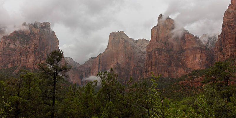 Following Heavy Thunderstorm Rainfall, Clouds Form Around the Canyon Walls in The Court of The Patriarchs, July 12, 2018.