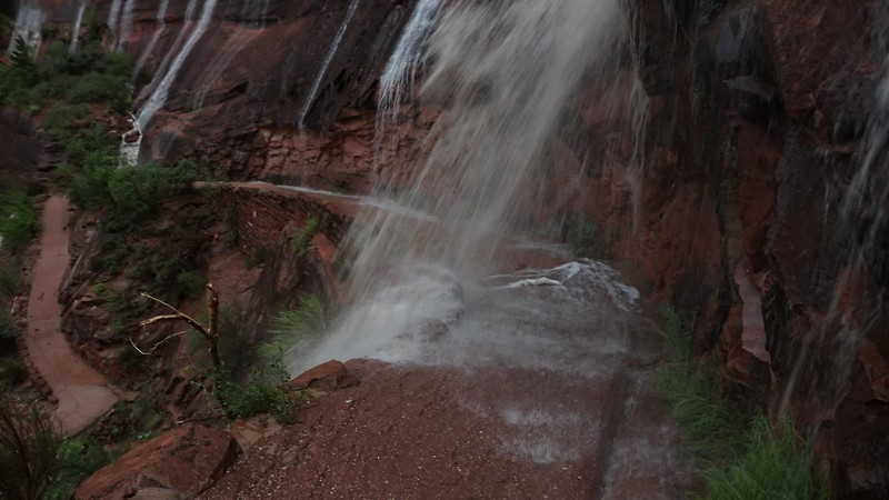 Hiking Down Through Waterfalls as the Storm Subsided