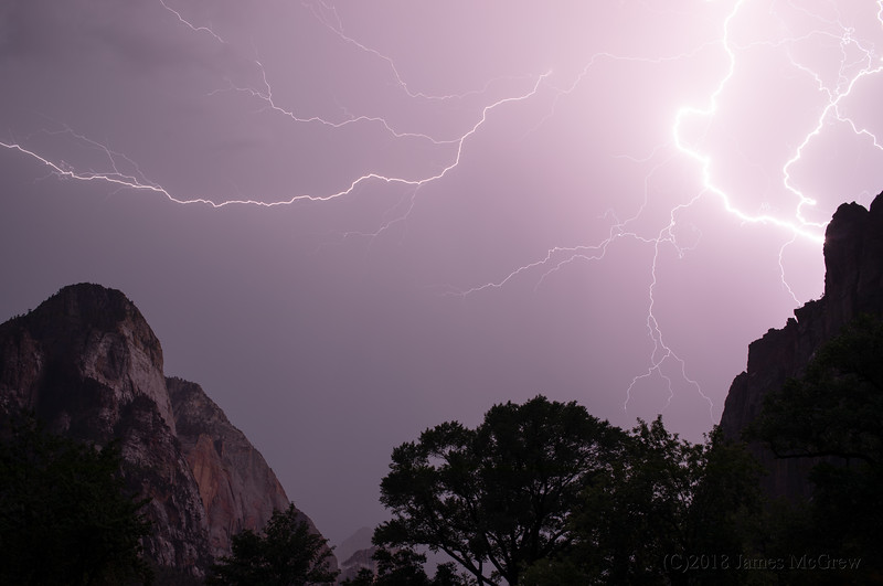 Lightning Over Zion Canyon, July 11, 2018.