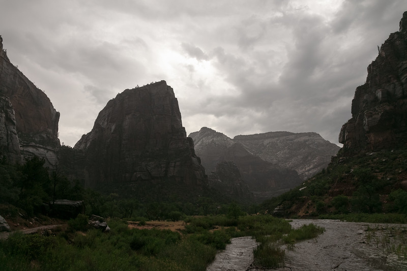 Hiking Back Towards the Grotto as the Virgin River Rises, July 11, 2018