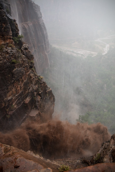 """Stream Flowing out of Refrigerator Canyon Formed a """"Chocolate"""" Waterfall."""