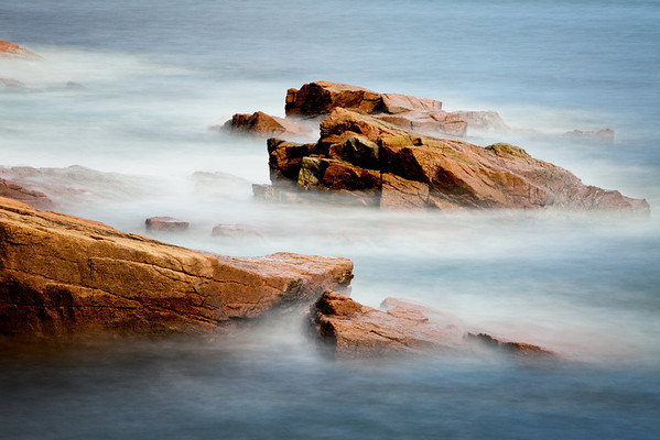 Waves breaking over rocks near Thunderhole, Acadia National Park, Maine