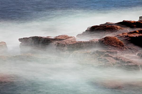 Waves breaking over rocks near Thunderhole, Acadia National Park, Maine