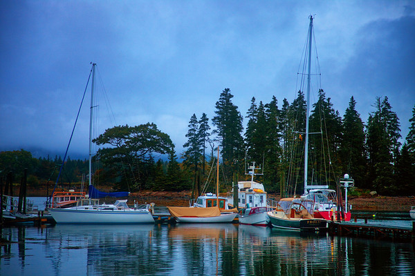 Dawn at Bernard/Bass Harbor anchorage near Acadia National Park, Bass Harbor, Maine