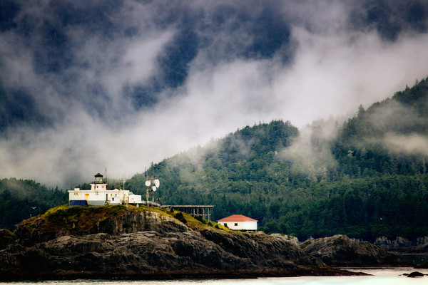 Cape Spencer Light at the entrance of Cross Sound and Icy Strait beside Glacier Bay National Park, Alaska