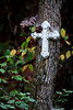 A cross beside a hiking trail in the Talladega National Forest in northeast Alabama