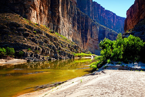 Santa Elena Canyon in Big Bend National Park, Texas. The river is the Rio Grande.