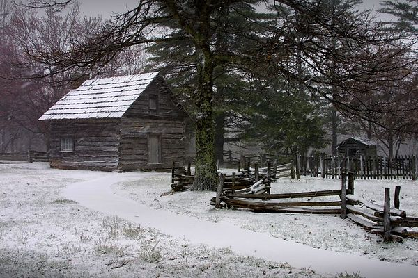 Puckett's Cabin in the snow, Blue Ridge Parkway, Virginia