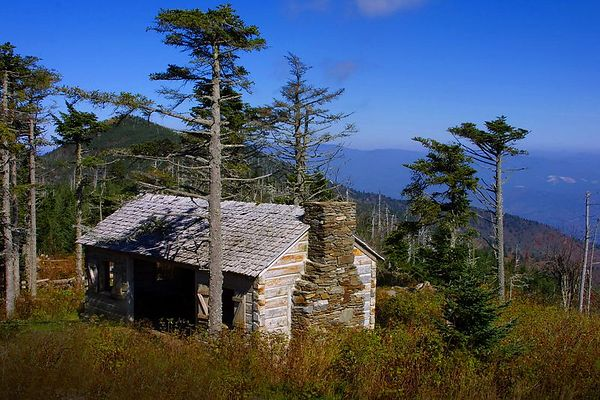 Cabin near peak of Mt. Michell along the Blue Ridge Parkway in North Carolina