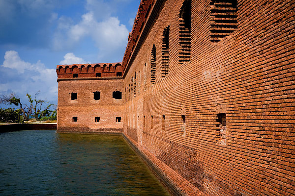 The moat and outside wall of Fort Jefferson located in the Dry Tortugas National Park - 70 miles west of Key West, Florida.