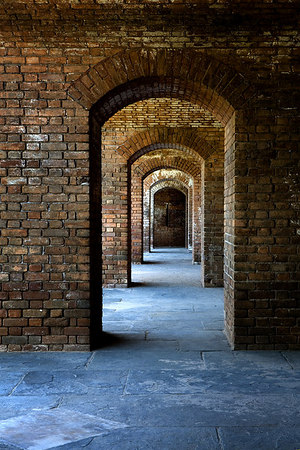 Inside Fort Jefferson, Dry Tortugas National Park in the Gulf of Mexico - 70 miles west of Key West, Florida.