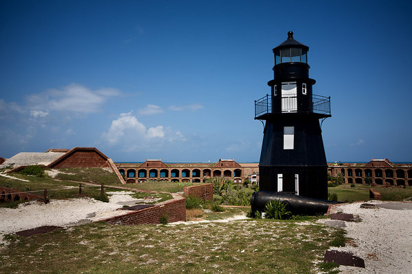 Tortugas Harbor (Fort Jefferson) Lighthouse, Garden Key in the Dry Tortugas National Park, Florida.