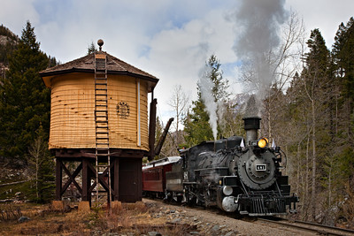 481 at the water tower during the return from Silverton to Durango