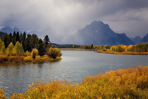 Oxbow Bend on a stormy early fall day in Grand Teton National Park, Wyoming