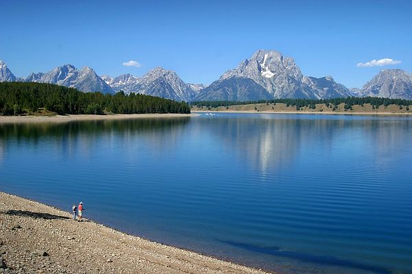 Jackson Lake with Mt. Moran in the background in Grand Teton National Park, Wyoming