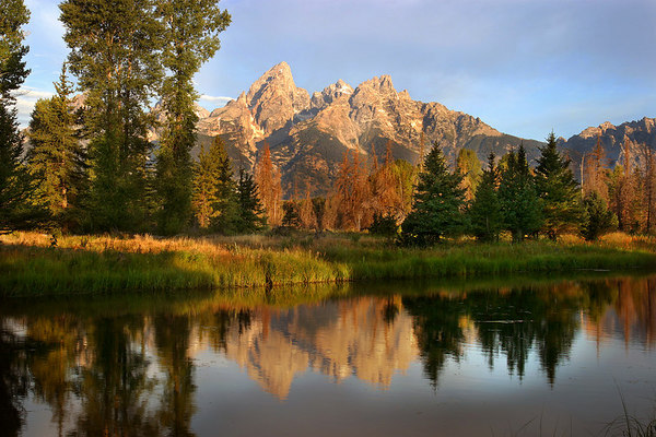 Cathedral Group in the Grand Tetons shown above the Snake River.