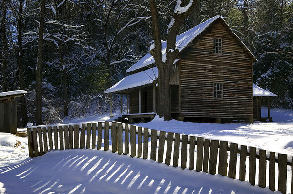 Wintertime at the Tipton Place, Cades Cove, Great Smoky Mountains National Park, Tennessee