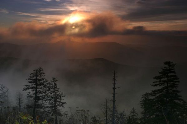 Sunrise over the Great Smoky Mountains National Park taken from Clingmans Dome