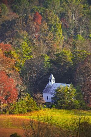 Methodist Church in Cades Cove from the overlook on Rich Mountain Road
