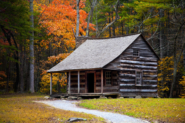 Carter Shields cabin in Cades Cove during the fall of 2013.