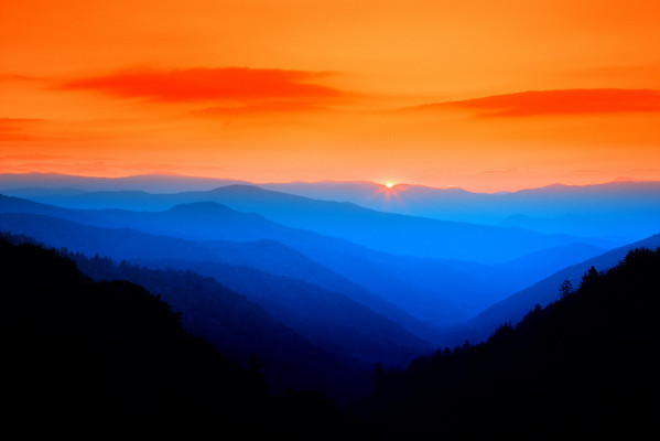 Sunrise in Great Smoky Mountains National Park near Newfound Gap.